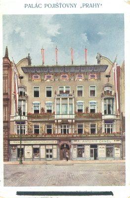 """96d0fbaf5a pohlednice Praha – Palác pojišťovny """"Praha""""   1915"""