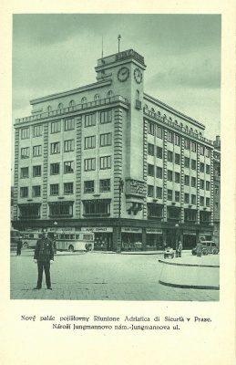 874fc42909 pohlednice Nový Palác Riunione v Praze – Riunione Adriatica   cca 1940